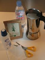 eau végétale à la cafetière à l'italienne