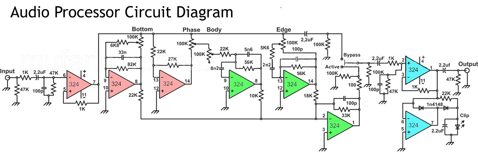 Audio Processor Circuit Using Ic Lm324 Electronic Tda2040 Car Stereo Amplifier