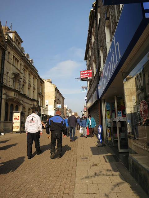 Pedestrianised shopping street.
