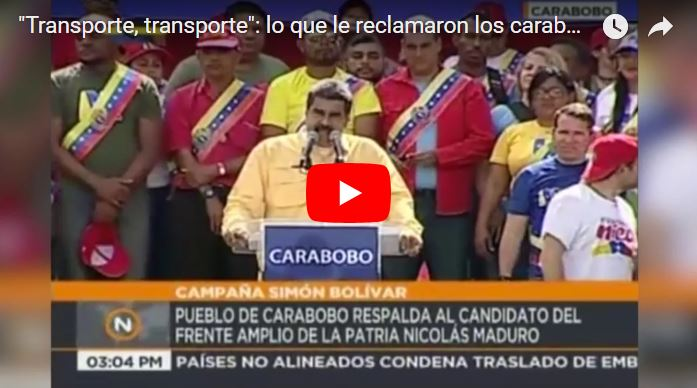 Chaburros gritándole a Maduro porque quieren transporte