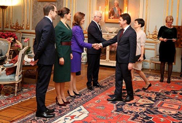 Crown Princess Victoria wore Rodebjer Alexe dress. Queen Silvia. Ambassador Ivan Pavlov and his wife Vasilena Dotkova