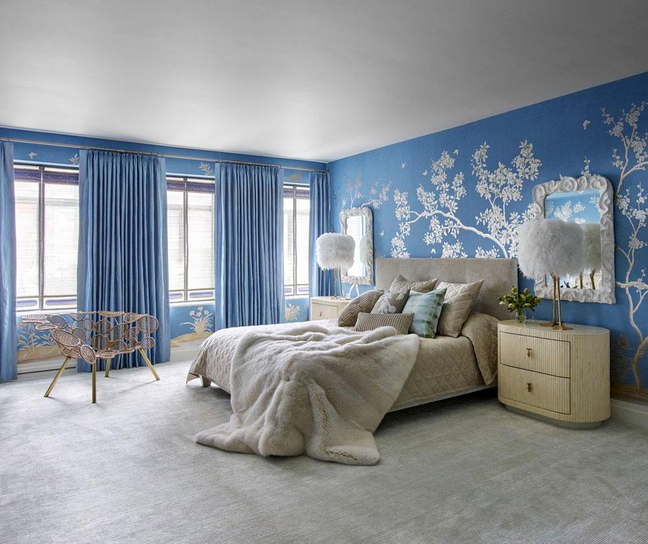 Wunderschöne Schlafzimmer Blaue Wand Design Mit Baum Motive Und Grau  Teppichboden Ideen