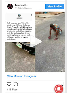 Lady punishes Taxi driver who tried to steal her iPhone 8 (Photos)