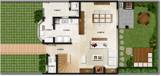 3D house plan with barbecue