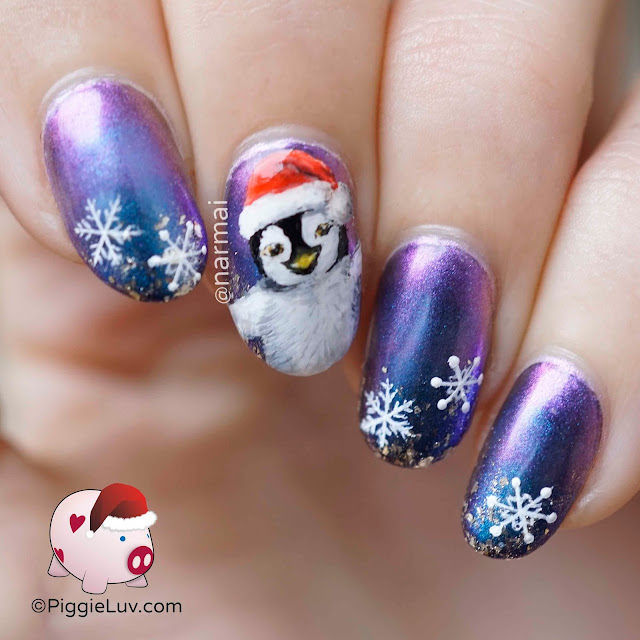 piggieluv happy christmas penguin nail art