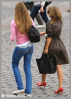 Girl wearing high heels on the street