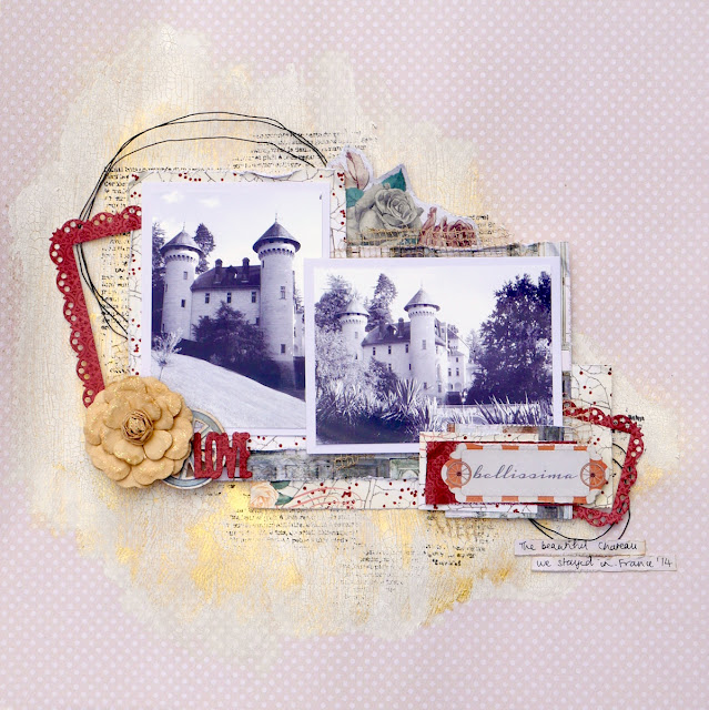 Bellissima Scrapbook Page Katherine Sutton using BoBunny Bella Rosa Collection