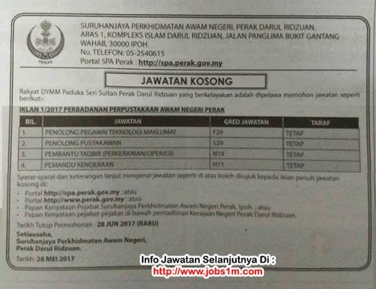 Iklan Jawatan kosong Perbadanan Perpustakaan Awam Negeri Perak - KELAYAKAN PMR ~ DIPLOMA