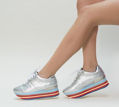 pantofi sport de fete gri cu talpa groasa