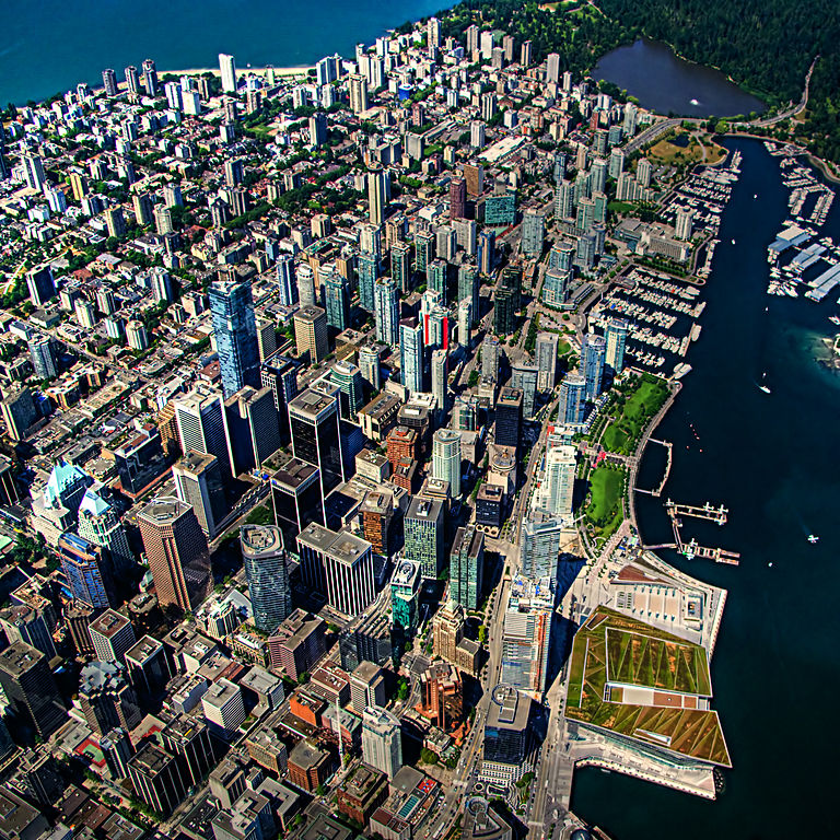 Aerial view of Vancouver, Western Canada