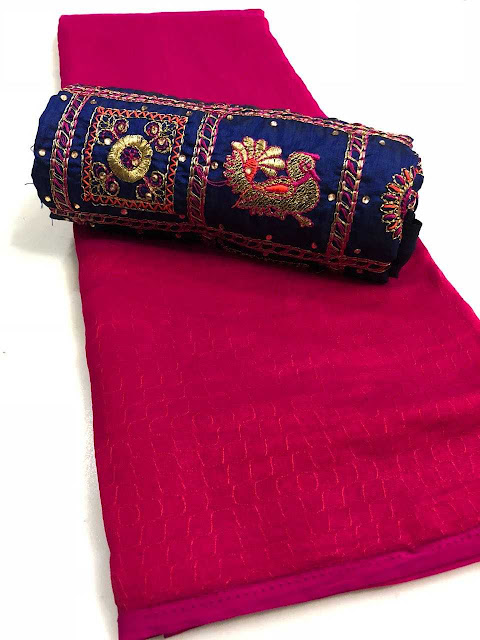 2tone Crepe Self Work Sarees With Heavy Blouse