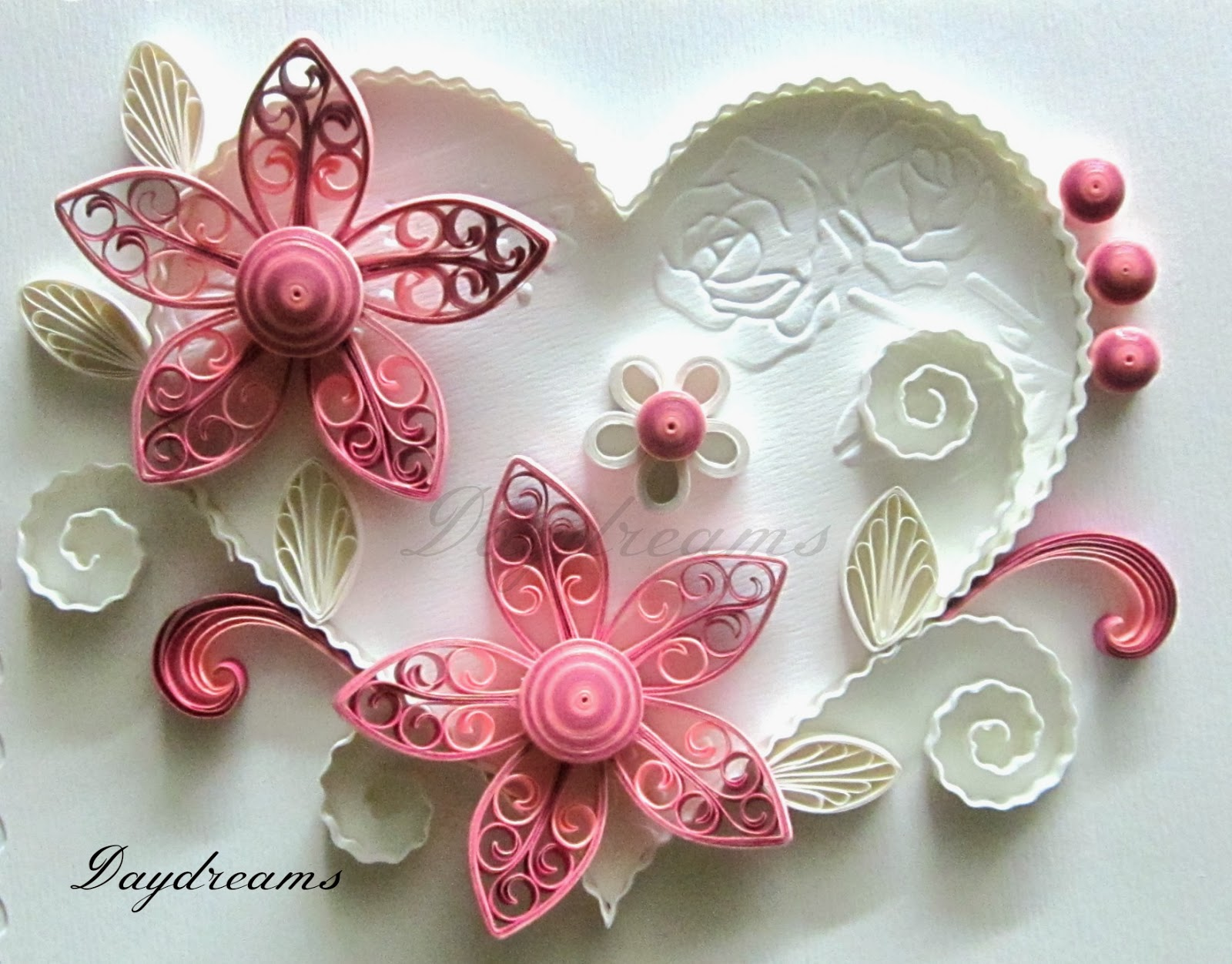 Daydreams Quilled Valentine With Royal Flowers