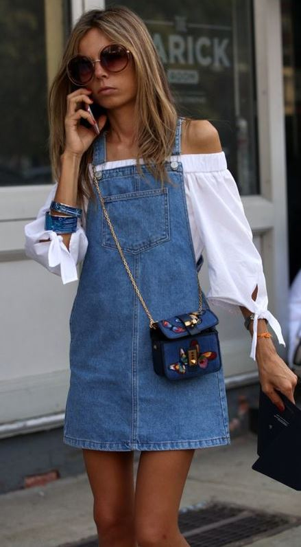 how to wear a printed small bag : white off shoulder top + denim dress