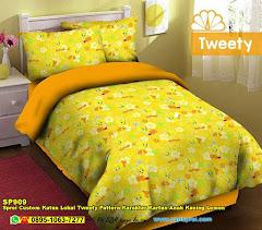 Sprei Custom Katun Lokal Tweety Pattern Karakter Kartun Anak Kuning Lemon