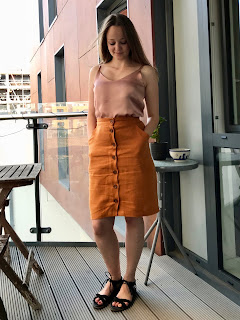 Orange Linen Erin Skirt and Blush Pink Satin Ogden Cami