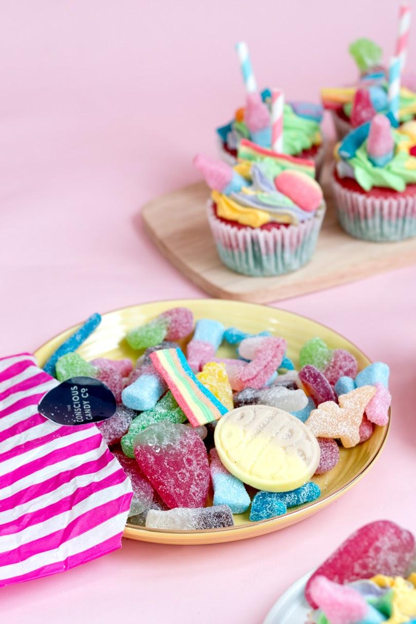 vegan pick 'n' mix bubblegum cupcakes