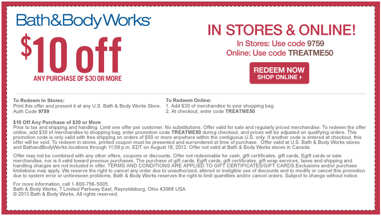 Coupon Bath And Body Works 10 00 Off Of 30 00 Life