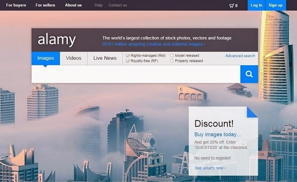 como vender fotos pela internet - site Alamy