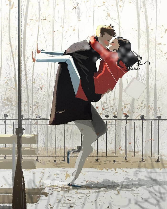 Man Creates Heartwarming Illustrations Of The Everyday Life With His Wife - Whisking her off her feet