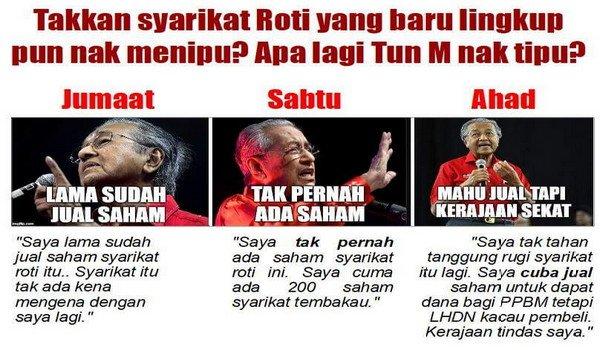 PRU14: Mahathir cakap berbelit mengenai syarikat roti The Loaf