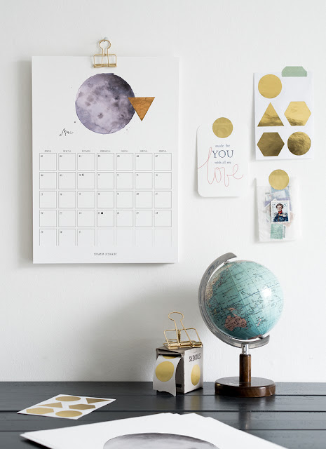 Calendrier Lune, aquarelle
