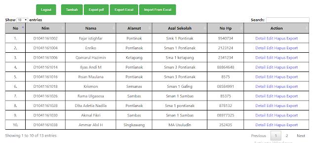 Cara menggunakan datatables di php