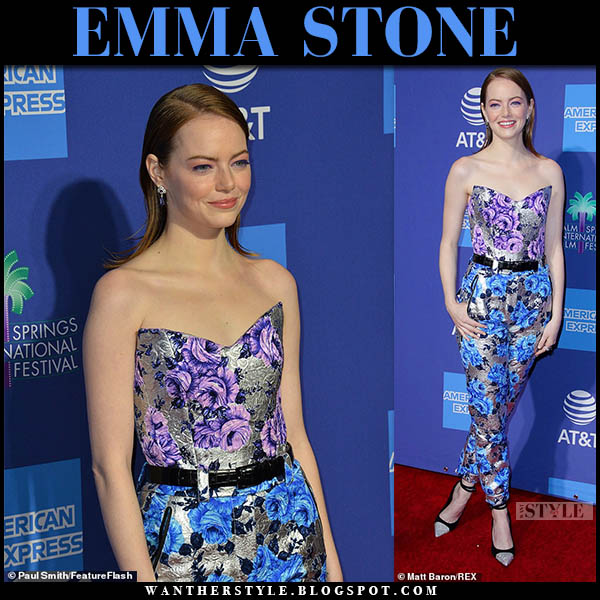 Emma Stone in floral print silver and purple corset jumpsuit louis vuitton red carpet outfit january 3