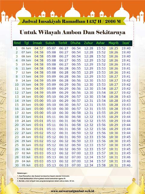 jadwal imsakiyah Ramadhan 1437 H / 2016 M untuk kota Ambon provinsi Maluku dan sekitarnya