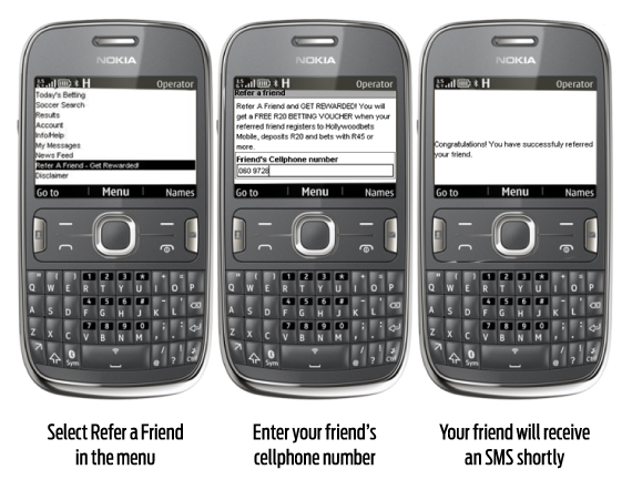 Feature Phone Method - Hollywoodbets Refer a Friend - Bonus