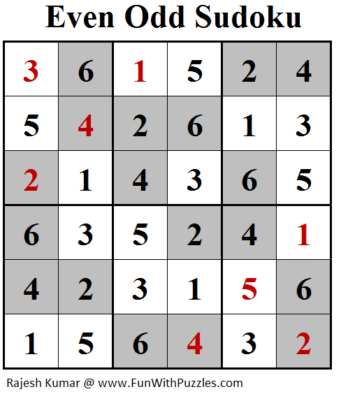 Odd Sudoku (Mini Sudoku Series #95) Solution