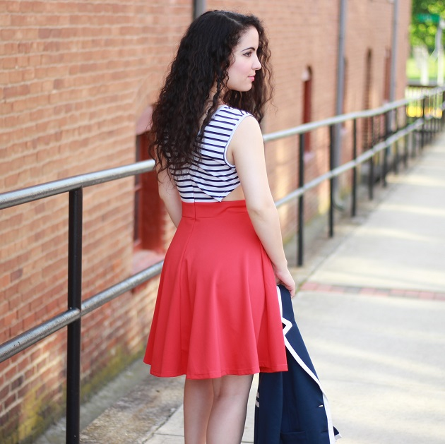 Red Striped Cut Out Nautical Dress