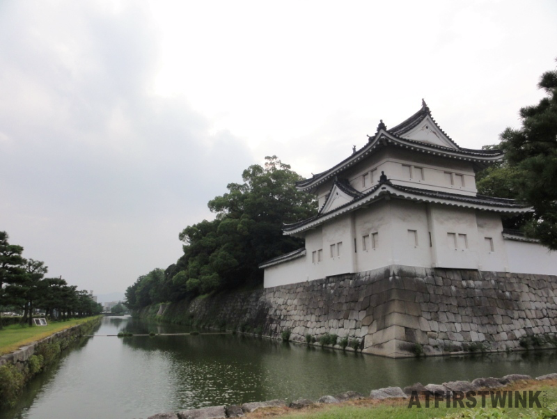 The outside walls and outer moat of Nijo castle Kyoto Japan