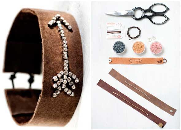 pulseras, brazaletes, cuero, flechas, bisutería, diys