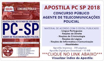 Apostila Agente de Telecomunicações Policial concurso PCSP