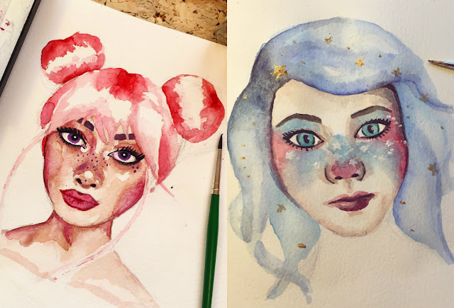 watercolour pastel girls