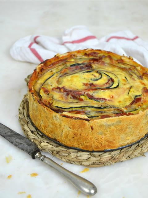 Quiche de verduras y jamón en espiral