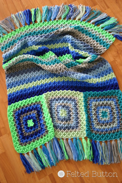 Parrotlet's Flight Blanket crochet pattern by Susan Carlson of Felted Button
