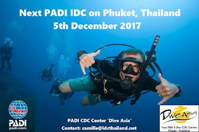 Next PADI IDC on Phuket, Thailand starts 5th December 2017