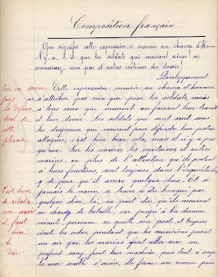 Cahier de compositions Imprimerie Léon Renaud Bourges, cours complémentaire, élève Germaine D., née en 1897, 1912 (collection musée)