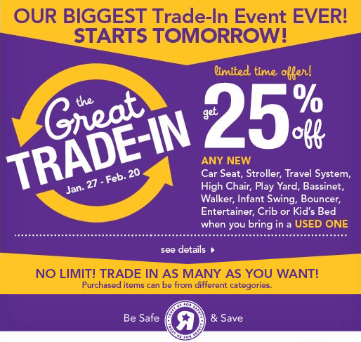 BabiesRUs And ToysRUs Stores Nationwide Are Holding The Great Trade In Event Providing Guests Opportunity To Any Used Car Seat