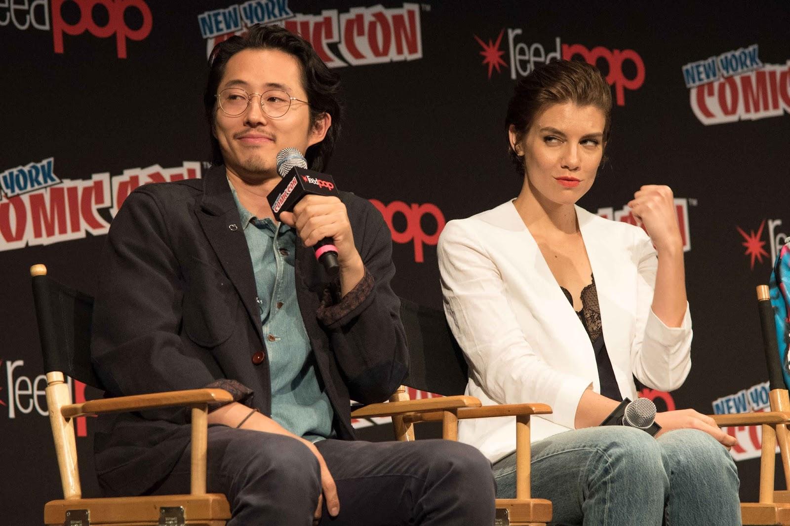 Lauren Cohan and Steven Yeun at New York Comic Con