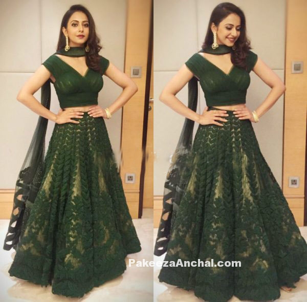 Rakul Preet Singh in Mehendi Green embroidered Lehenega
