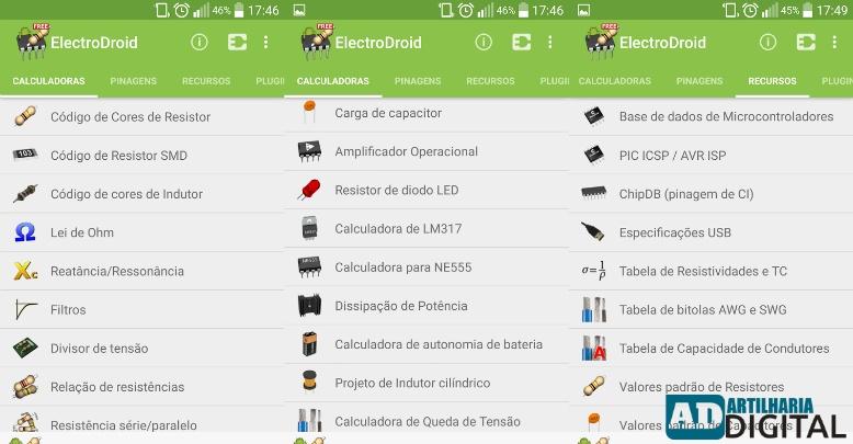 ElectroDroid - Aplicativo gratuito para engenharia elétrica, eletrônica, robótica e afins!