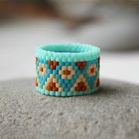 широкие кольца для женщин красивое кольцо из бисера