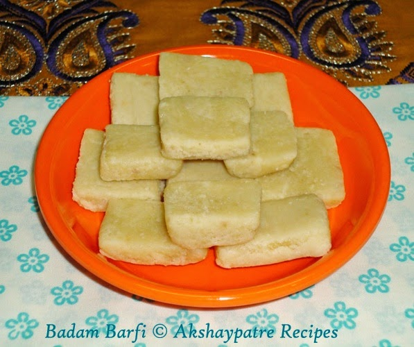 almond barfi in a serving plate