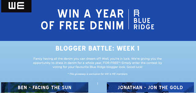 WE FASHION BLUE RIDGE FW 15 CONTEST blogger battle  - WIN A YEAR OF FREE DENIM from the Blue Ridge menswear collection.