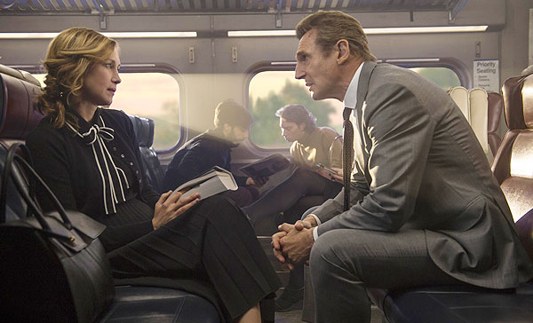 Vera Farmiga and Liam Neeson in THE COMMUTER (2018)
