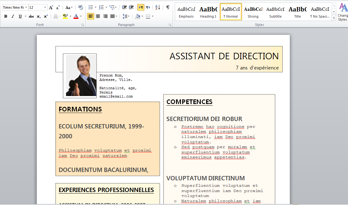 modele cv word assistant de direction