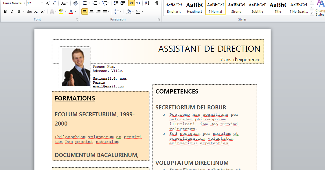 cv gratuit assistant de direction word
