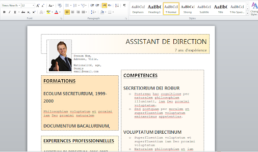 doc  modele cv word gratuit pour assistant de direction